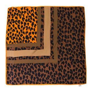 Burberry Silk Leopard Print Brown and Orange Scarf