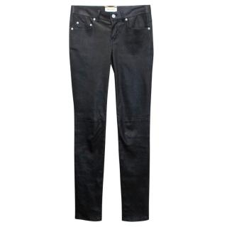 Saint Laurent Signature Low Waisted Black Leather Trousers