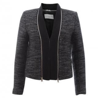 Sandro 'Verde' Metallic Tweed Zip Detail Jacket