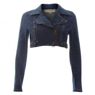 Stella McCartney Cropped Denim Biker Jacket