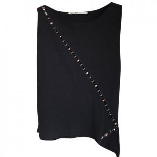 Roberto Cavalli Class Black Embellished Top