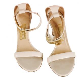 Salvatore Ferragamo high heel sandals with gold locket ankle strap