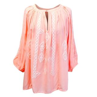 Melissa Obadash Salmon Pink Blouse with Embroidery