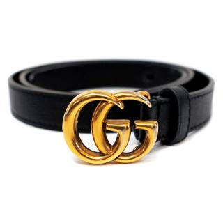 Gucci Black Leather Belt with Double 'G' Gold Buckle
