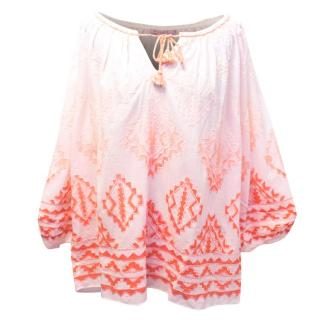 Calypso Salmon Pink Blouse with Ombre Effect and Embroidery