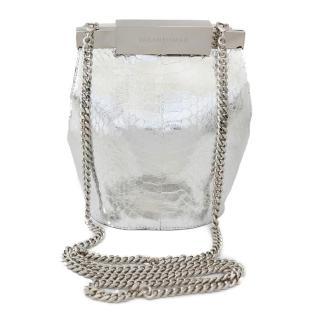 Farah Asmar silver mini valerie water snake bucket bag