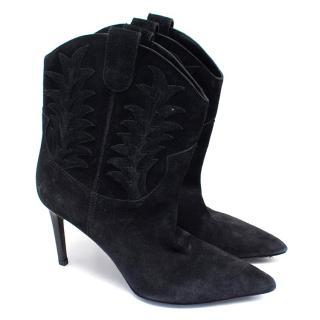 Saint Laurent Paris Suede Western Ankle Boots