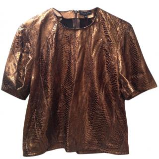 Opening Ceremony Bronze Snake Print Leather T-Shirt