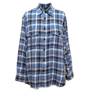 Saint Laurent Blue Plaid Flannel Shirt