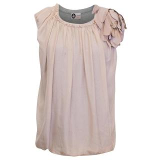 Lanvin Grey Short Sleeved Tee with Dusky Pink Silk Overlay