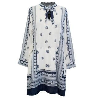 Sea Long Sleeved Cream and Navy Patterned Dress