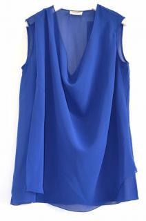 Saint Laurent blue silk draped top