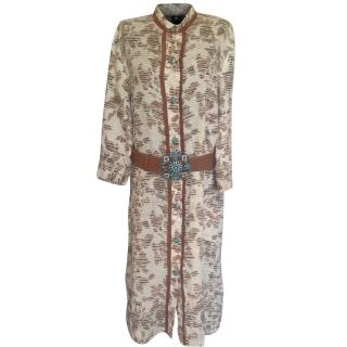 Les Copains linen shirt dress with leather buckled belt