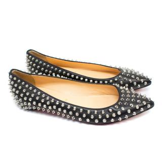 Christian Louboutin Pigalle Spiked Black Ballerina Flats
