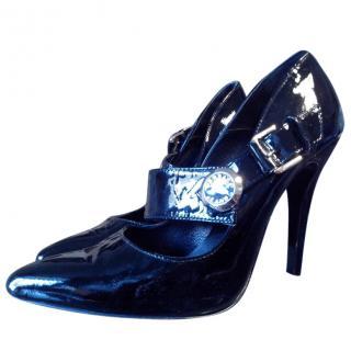 Versace patent black pumps