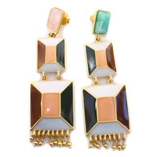 Paula Mendoza Drop Hexagon Enamel Brass Earrings