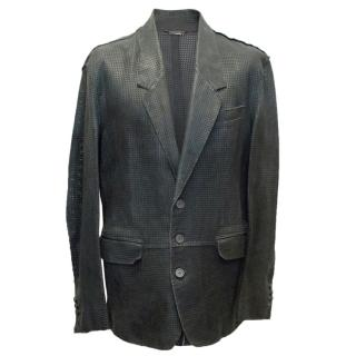 Dolce & Gabbana Men's Grey perforated Lambskin Blazer