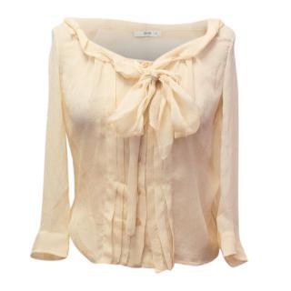 Prada Nude Silk Pussybow Blouse