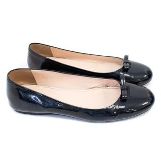 Prada Black Patent Leather Ballerina Flats with Bow Detail