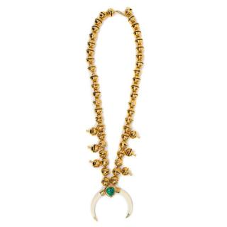 Aurelie Biderman Gold Plated Bell Necklace with Ivory Crescent