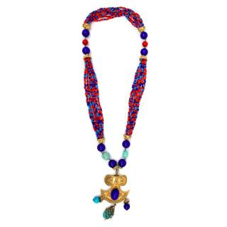 Kenneth J Lane Red, Blue and Orange Beaded Necklace