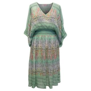 Calypso Green Patterned Silk Dress with Gathered Waist