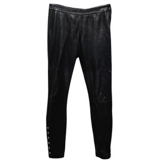 Claudie Pierlot Black Lamb Leather Trousers with Pearlescent Stud
