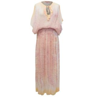 Calypso Pink and Cream Patterned Silk Maxi Dress