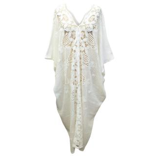 Miguelina white Crotchet Long Beach Cover-Up