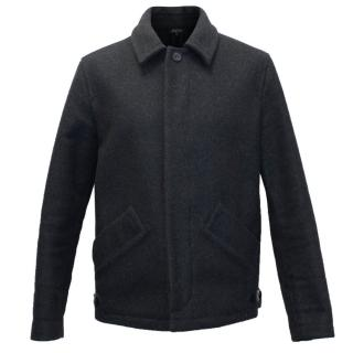 A.P.C Men's Wool Blend Grey Zipped Jacket