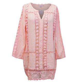Calypso 'Zerene' Pink Linen Top with Crochet Detailing