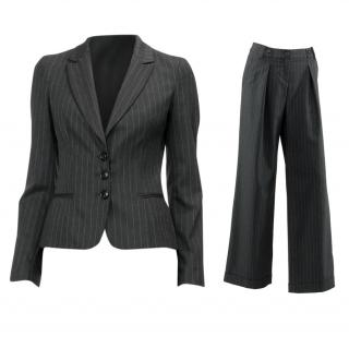 Love Moschino Charcoal Grey & Teal Pinstripe Wide Leg Trouser Suit