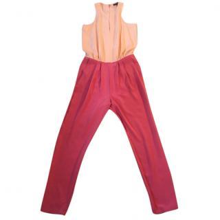 Tibi silk two tone peach and rose block colour jump