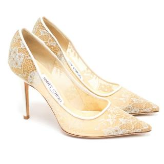 Jimmy Choo White Abel 90 Lace Point Toe Pumps