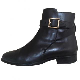 Burberry Prorsum Black Leather Ankle Boots 36.5