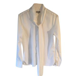 Margaret Howell cream cotton & cashmere pussy bow blouse
