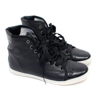 Lanvin Black Leather High-Top Trainers