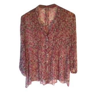 Gerard Darel 100% silk floral print blouse