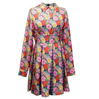 Manoush Colourful Floral Print Dress with Pleated Skirt