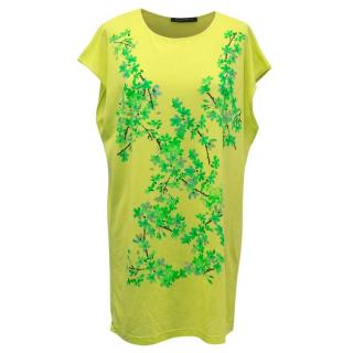 Balenciaga Neon Green T-Shirt Dress with Green Branch Print