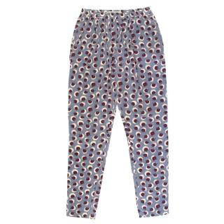 Stella McCartney Grey Silk Trousers with Flower Pattern