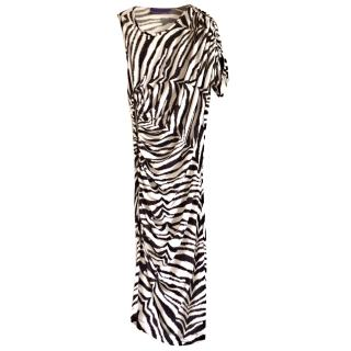 Emanuel Ungaro one shoulder zebra print dress
