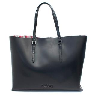 Armani Jeans Black Leather Large Tote Bag