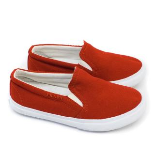 Kids Prada Red Slip On Canvas Trainers