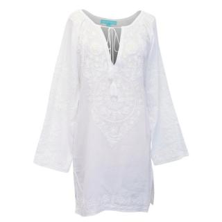 Melissa Obadash White Cotton Tunic with Embroidery and Beads