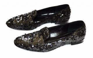 Ralph Lauren Collection black sequin shoes