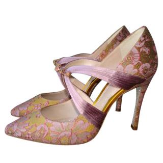 Rene Caovilla Satin Lace Pumps