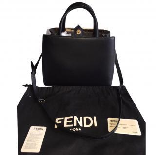 Fendi Petite 2jours Black Leather Shopper Bag