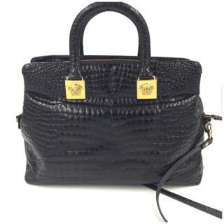 Gianni Versace Vintage Black Alligator Top Handle Bag & Strap