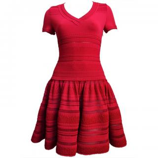 Alaia Red Knitted Flare Dress